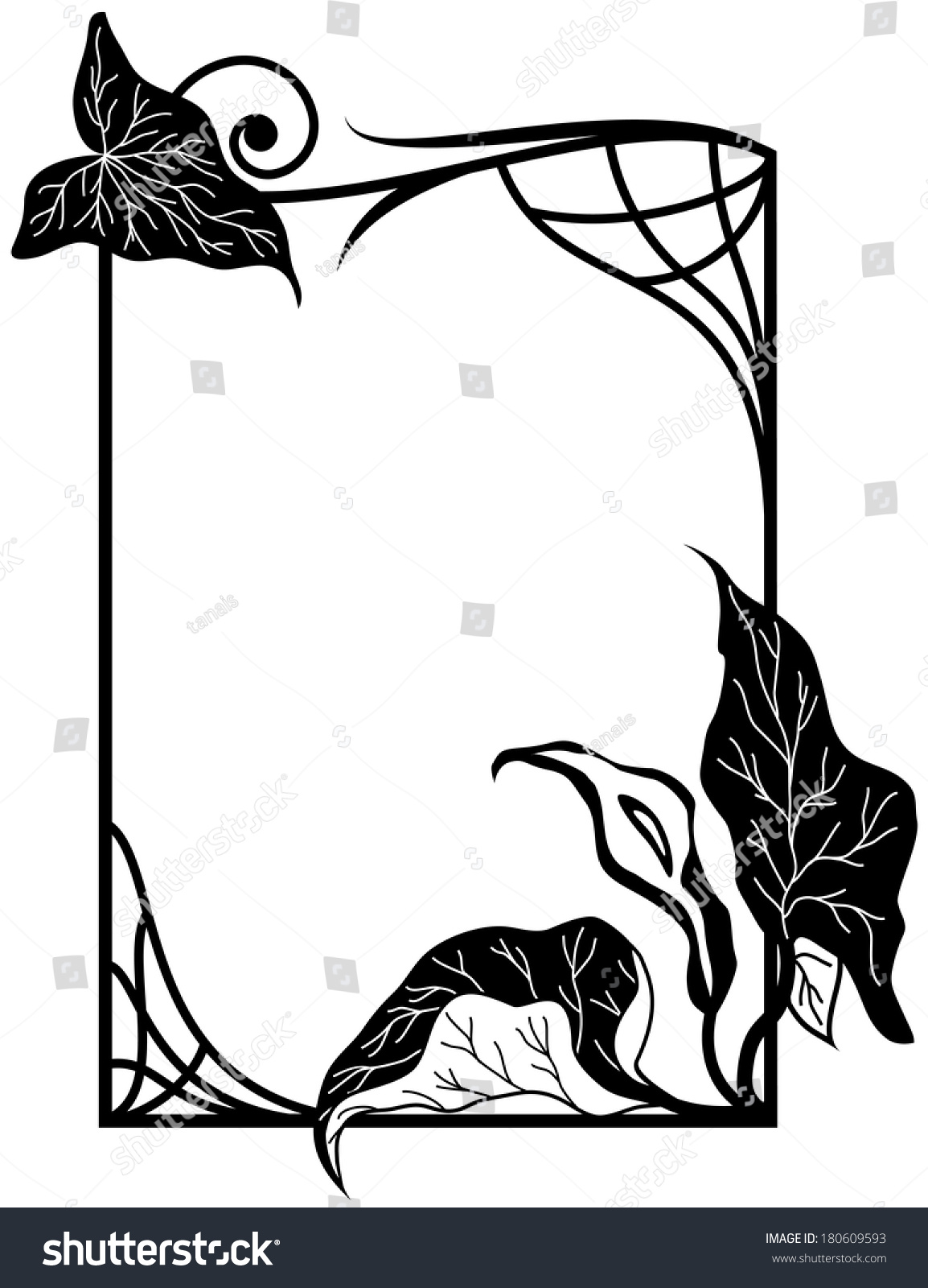 Frame Stylized Lily Flowers Black White Stock Illustration 180609593
