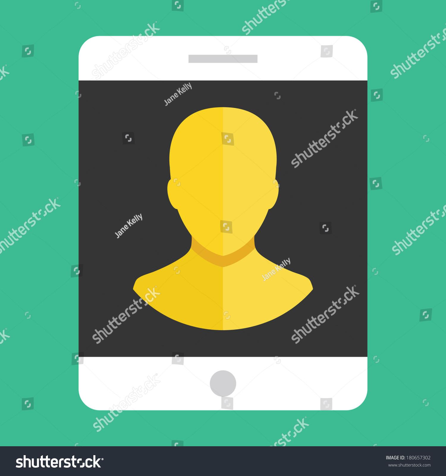 Vector Tablet User Profile Icon Stock Vector 180657302 ...