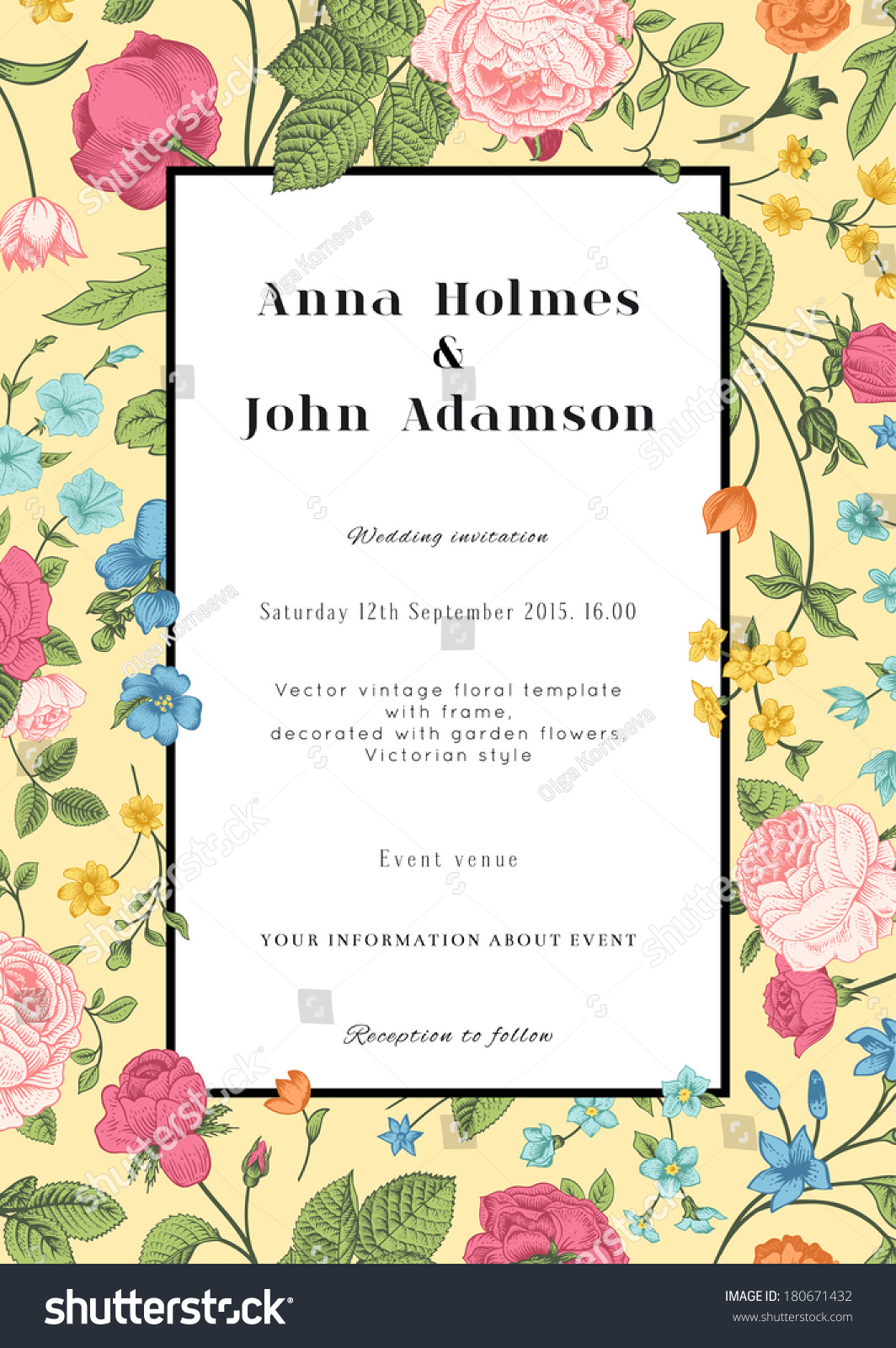 Vector Vertical Vintage Floral Wedding Invitation Stock Vector ...