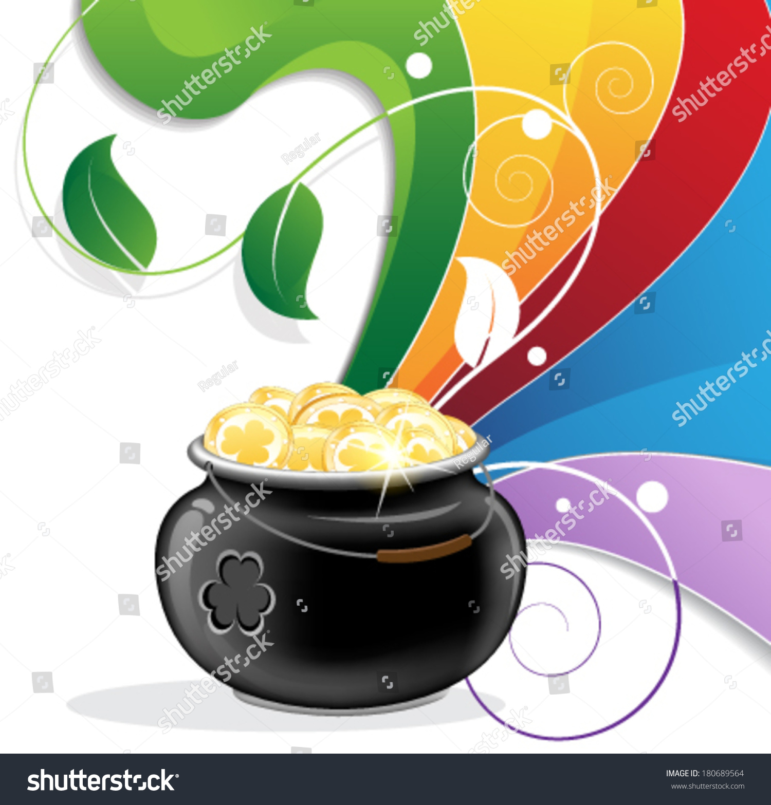 rainbow pot gold on white background stock vector 180689564