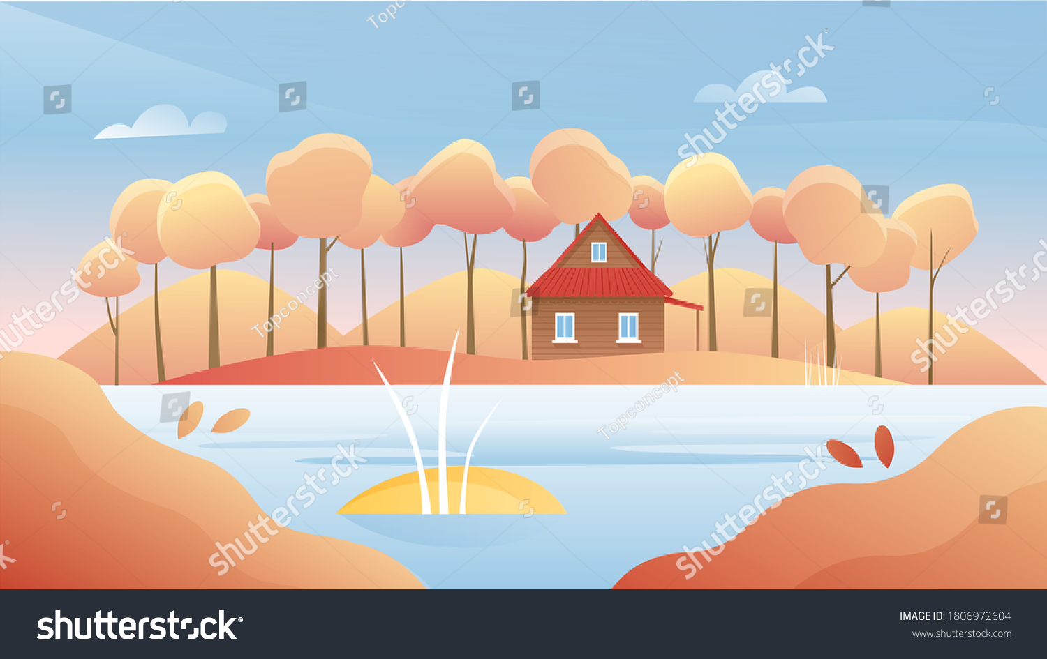 Autumn river landscape vector illustration. Cartoon flat autumnal sunny day, panorama nature woodland scenery with forest trees, rural wooden house on riverbank, fall season scenic woods background