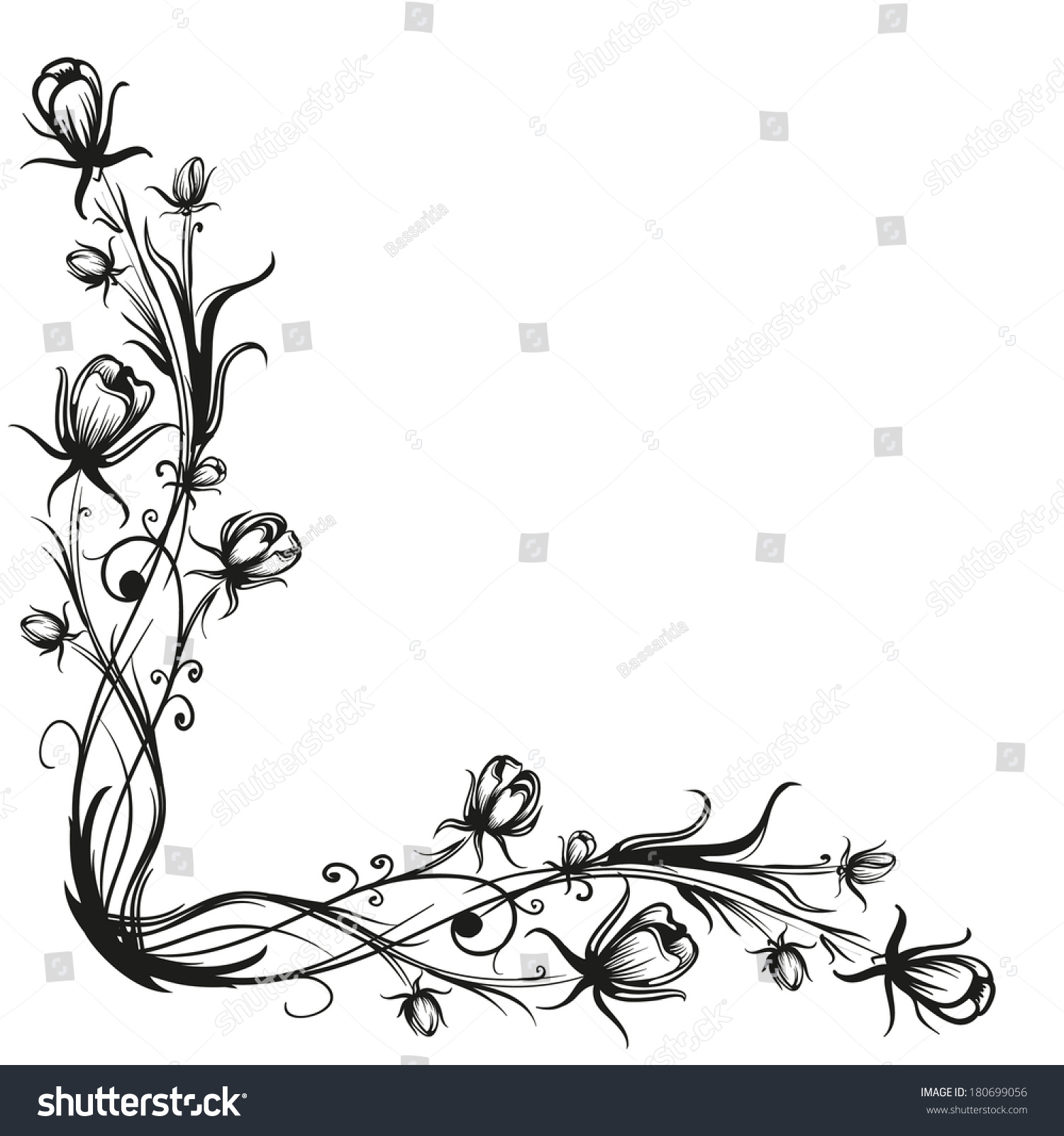 Decorative Black Flower Border Stock Image: Spring Flowers Pattern Border Black Silhouette Stock
