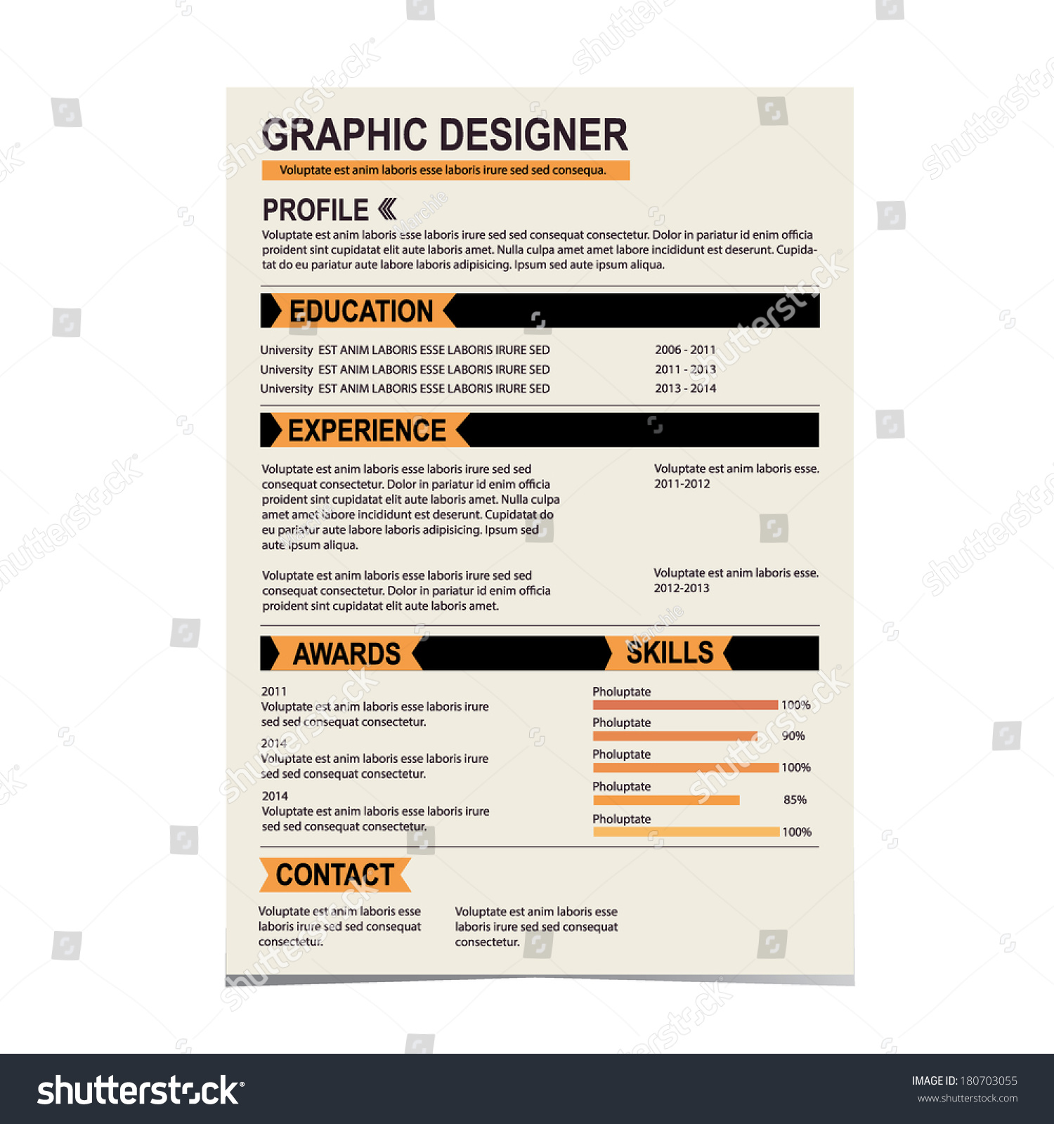 resume template cv creative background vector stock vector resume template cv creative background vector illustration