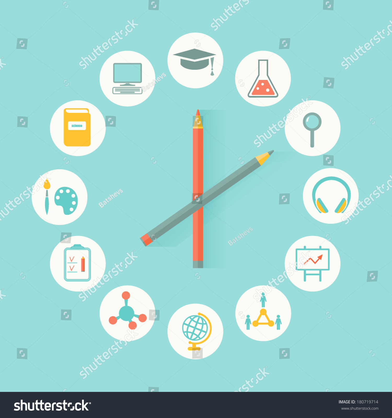 education icons infographics flat design education stock