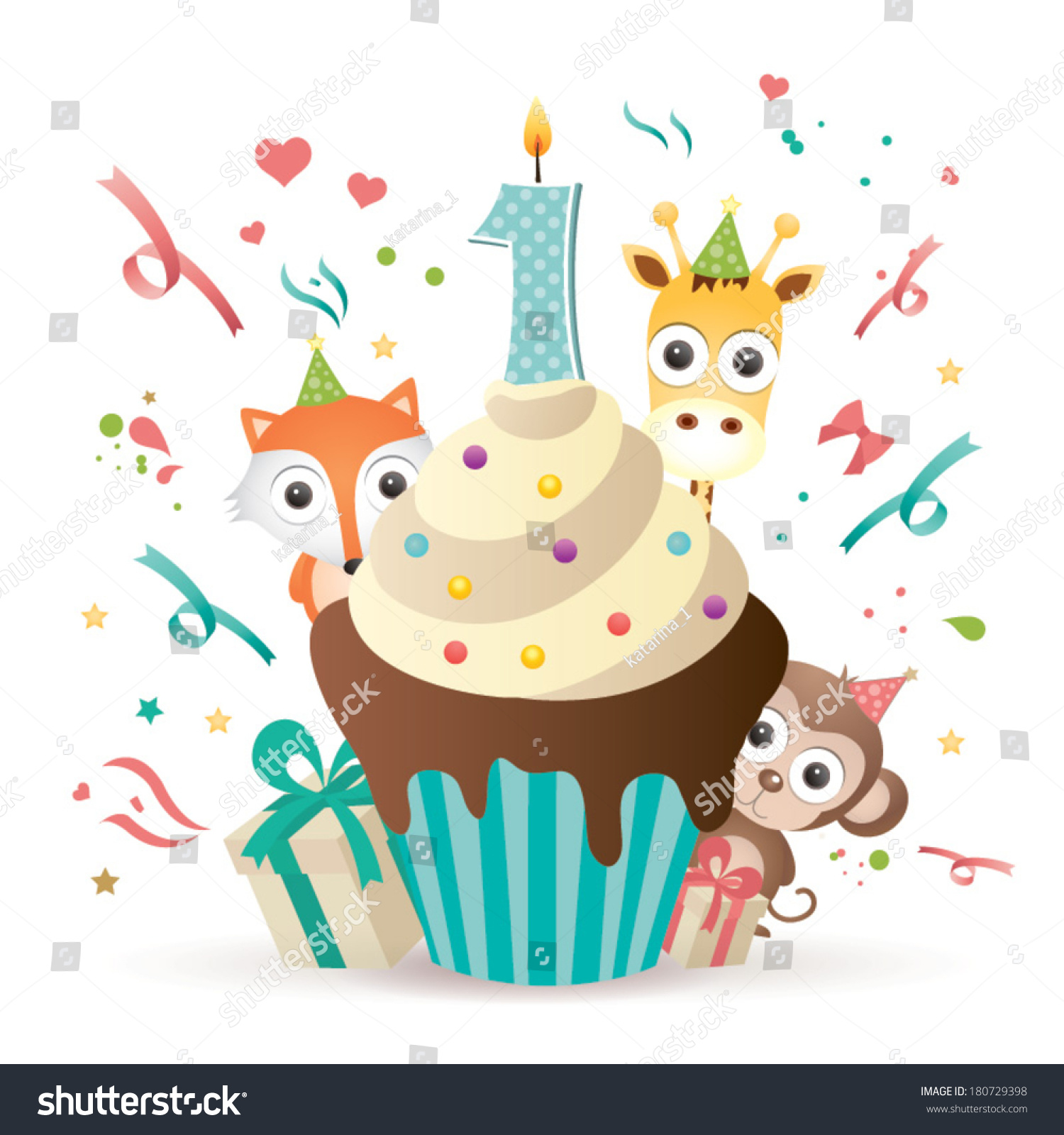 First Birthday Candle With Animals Stock Photo: Happy First Birthday Candle And Animals… Stock Photo