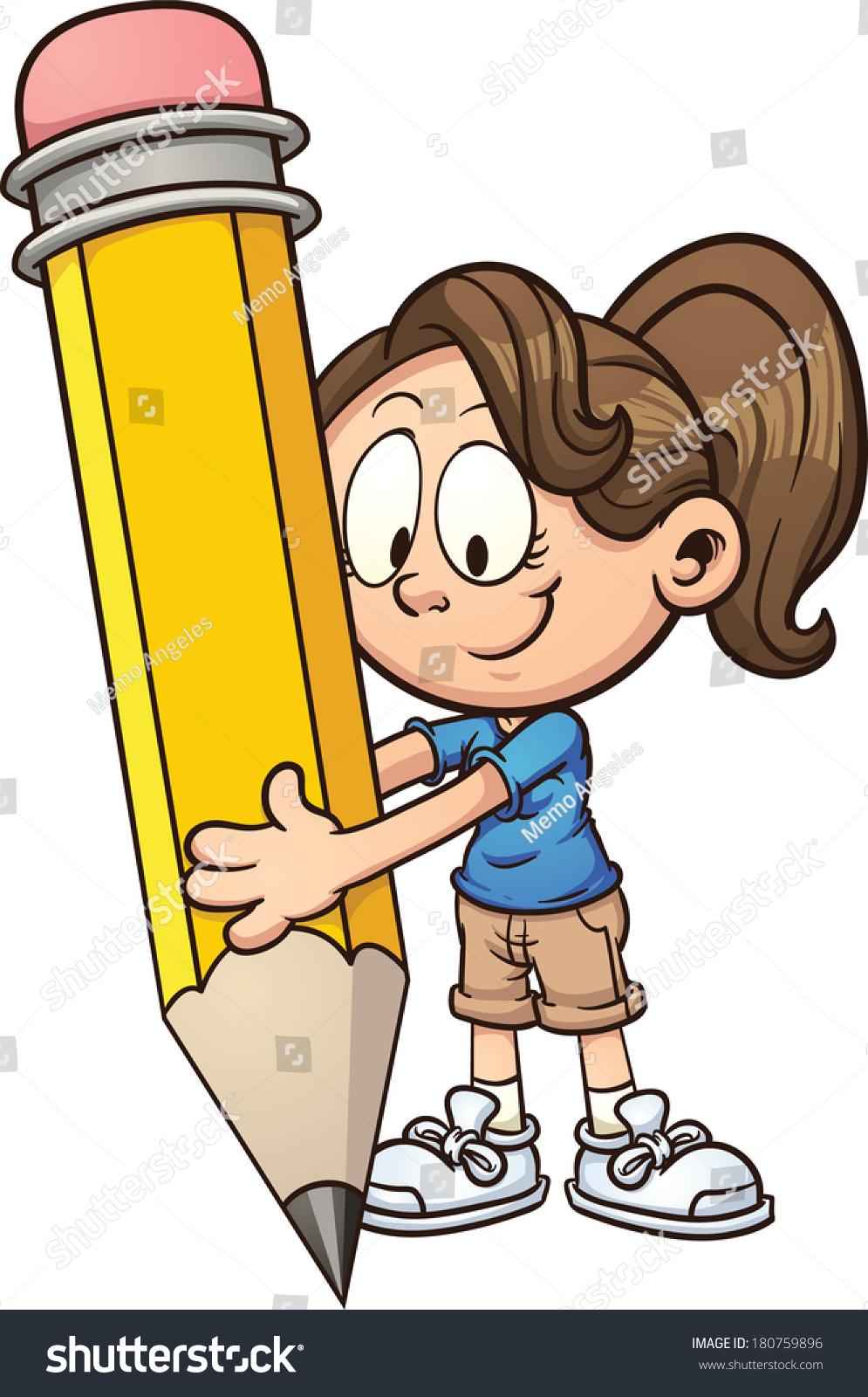 girl writing big pencil vector clip stock vector (royalty free