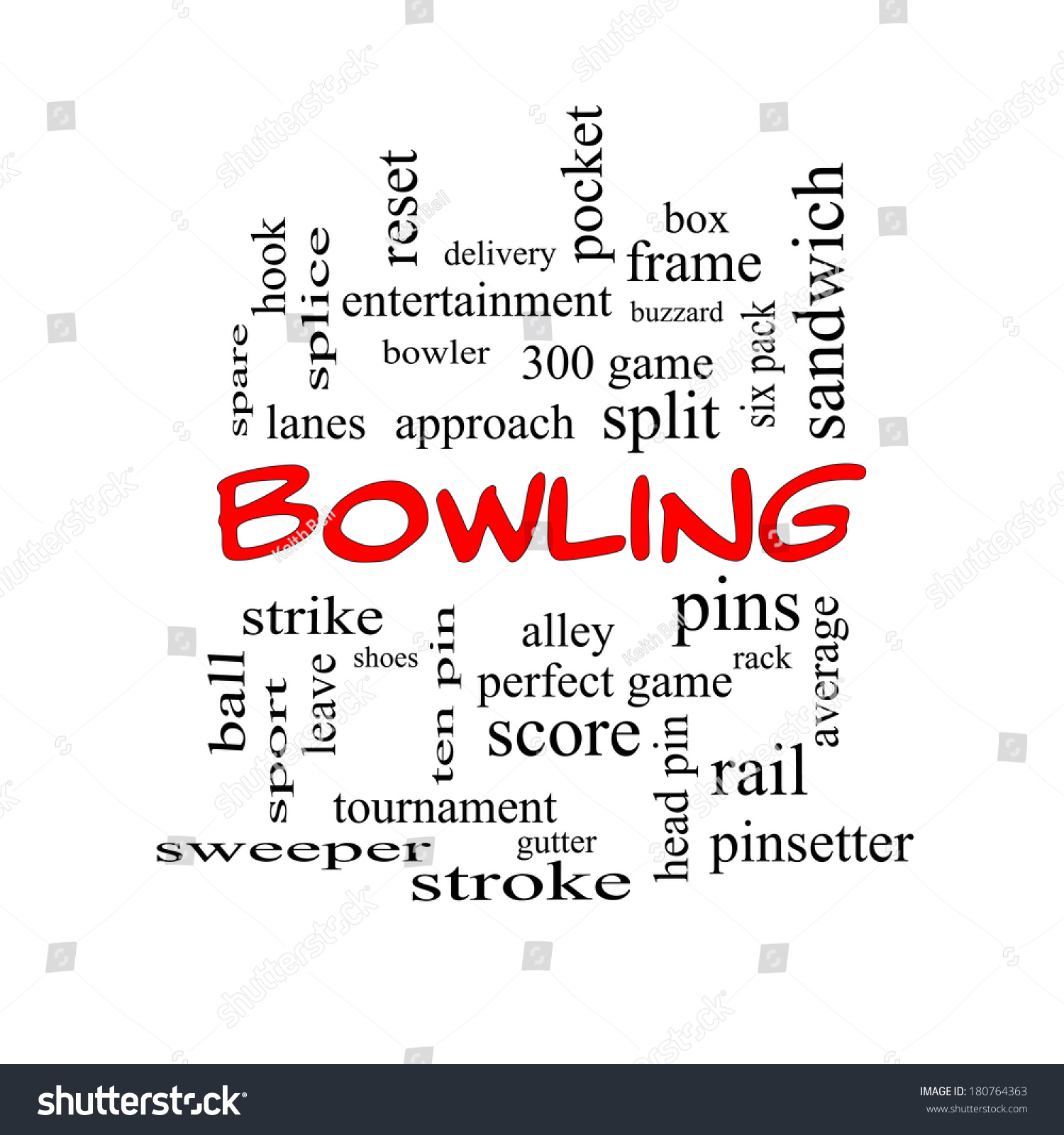 Bowling Word Cloud Concept Red Caps Stock Illustration 180764363 ...
