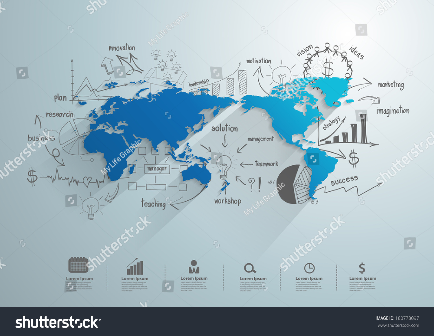 World map creative drawing chart graphs vectores en stock 180778097 world map with creative drawing chart and graphs business success strategy plan idea business world gumiabroncs Gallery
