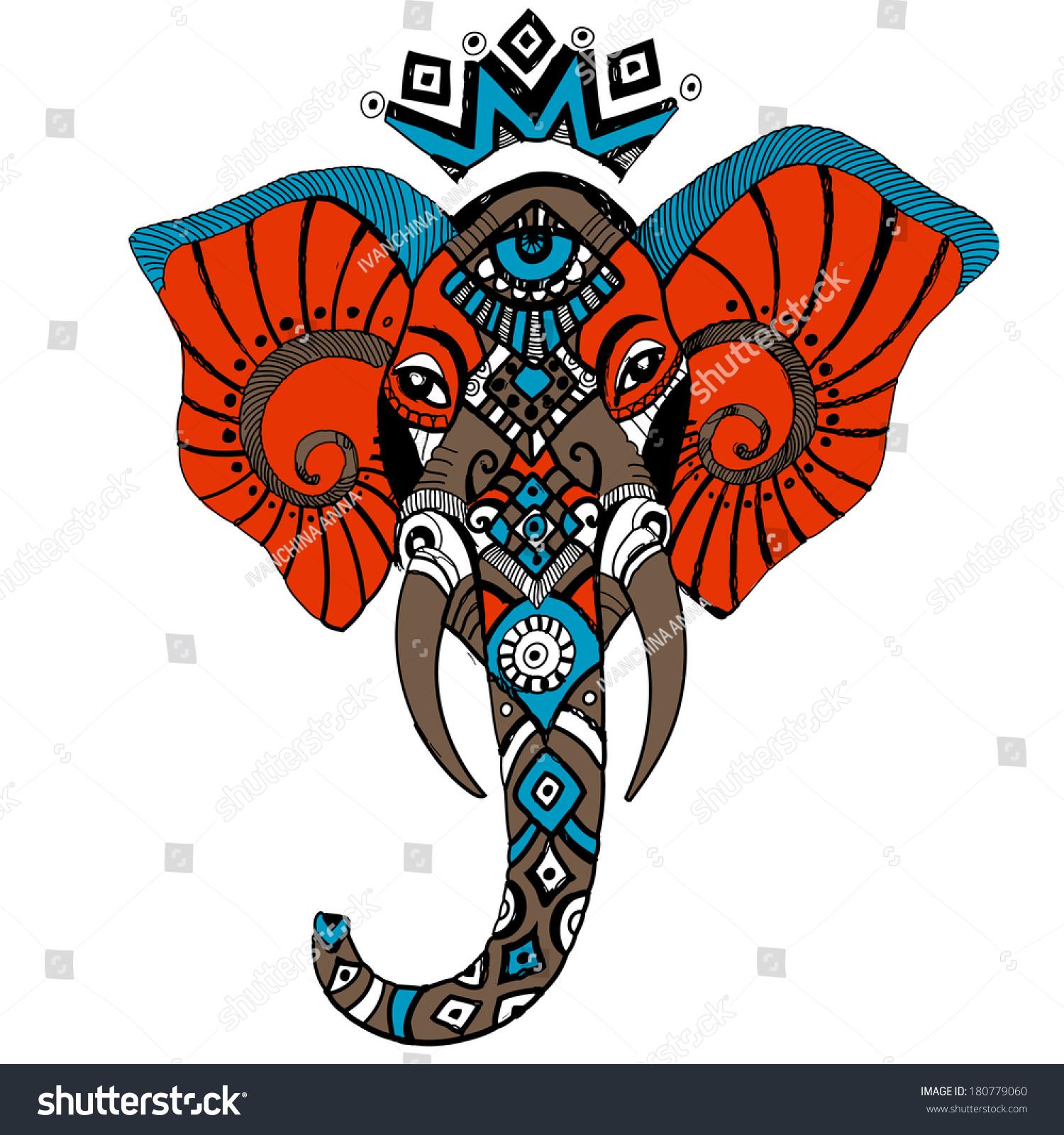 Elephant African Mask Stock Vector 180779060 - Shutterstock