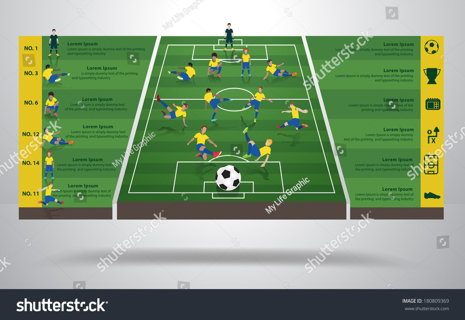 Brazilian soccer football player different positions stock vector brazilian soccer football player in different positions soccer field background soccer icons modern pooptronica Choice Image