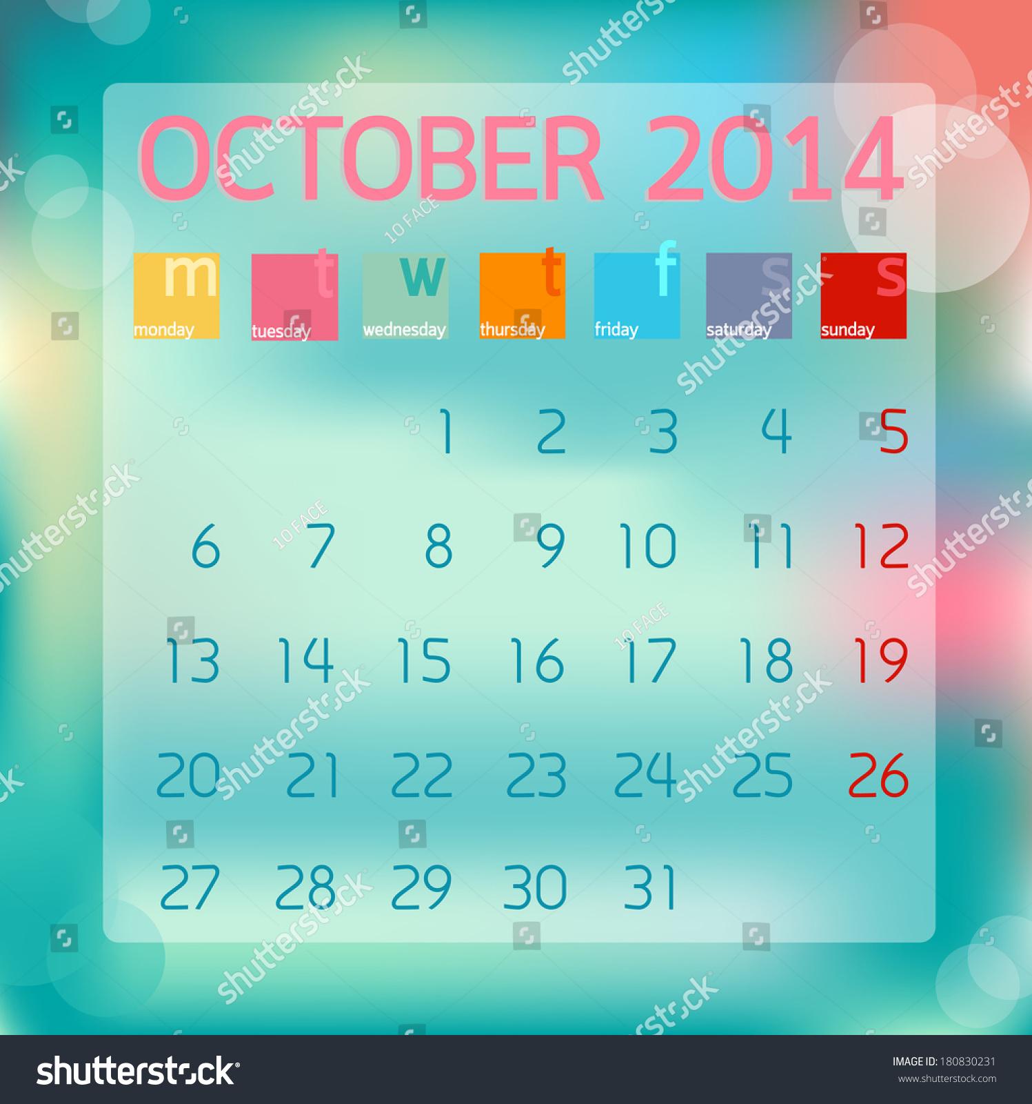 October Calendar Illustration : Calendar october flat style background stock vector