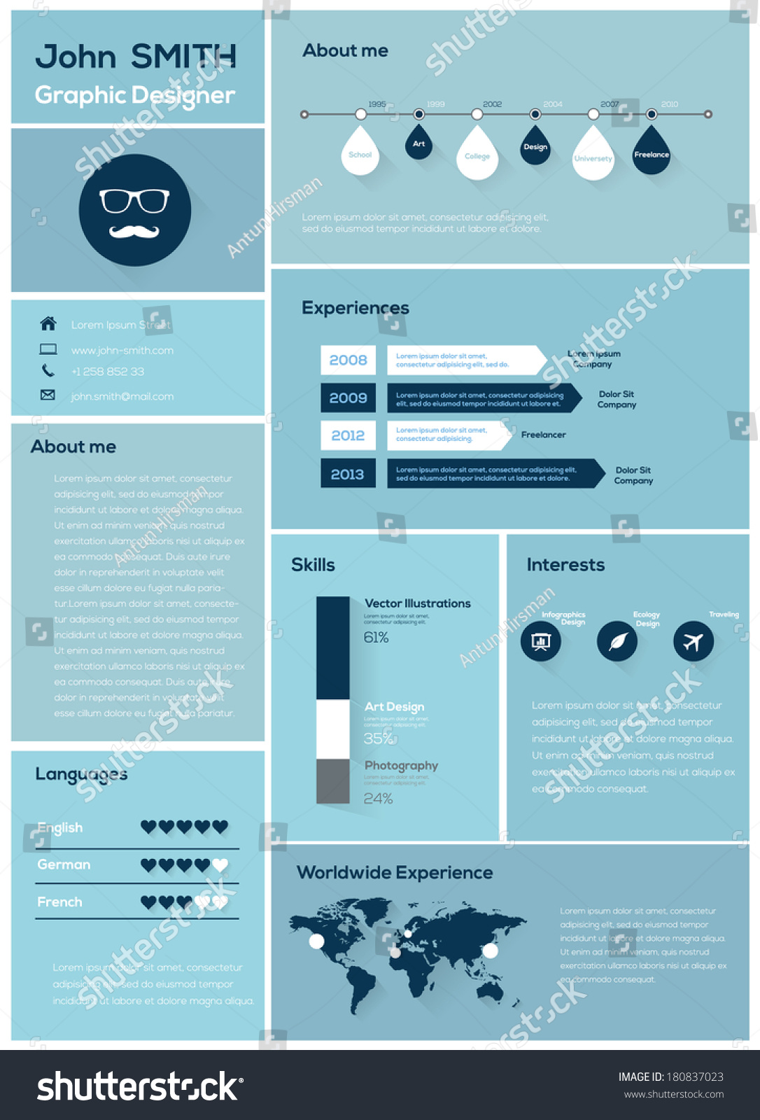 flat resume with infographics and timeline vector illustration