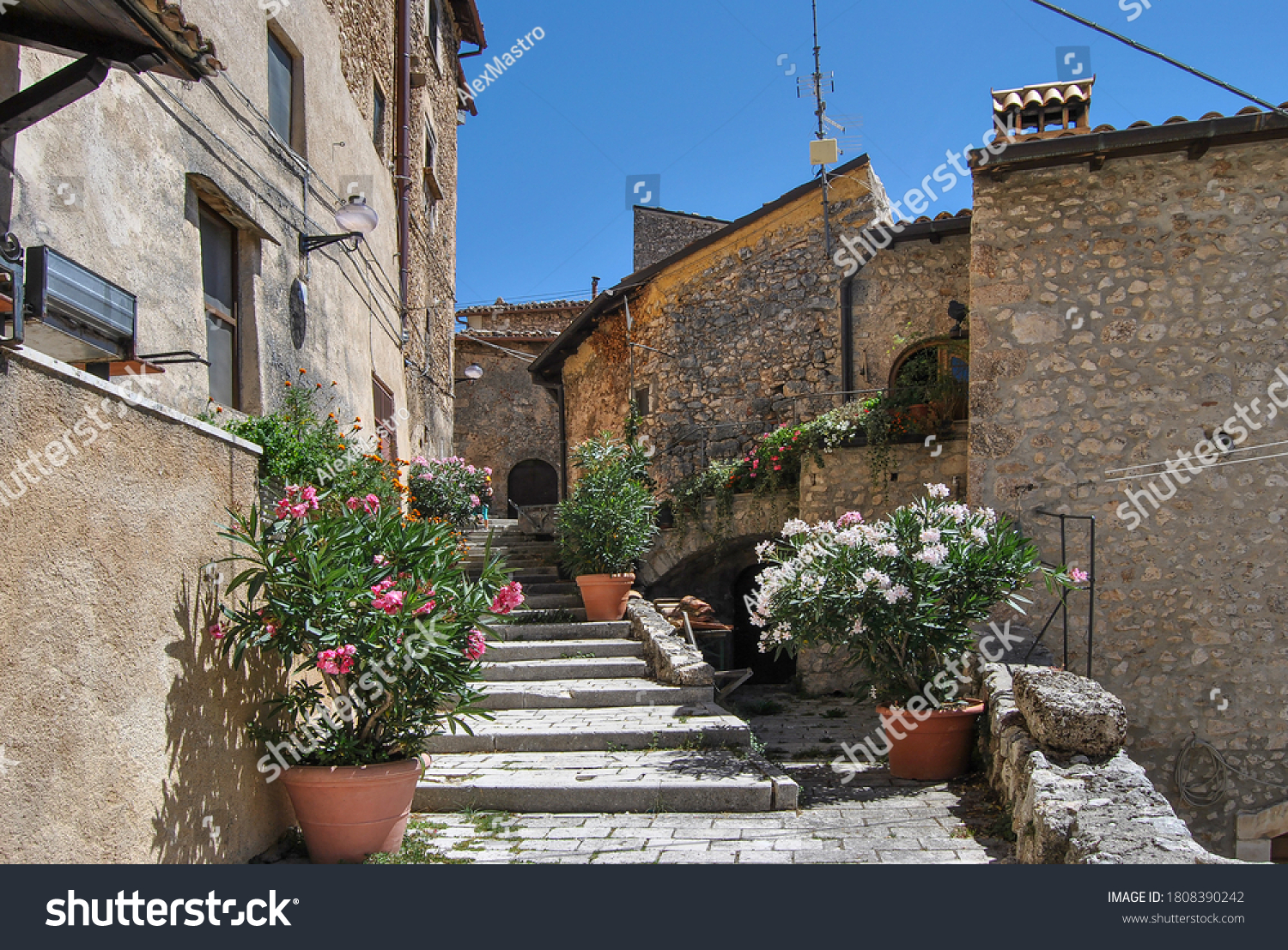 An alley of Santo Stefano di Sessanio, ancient hill town in the province of L'Aquila, Abruzzo region, Italy, located in the Gran Sasso e Monti della Laga National Park. #1808390242