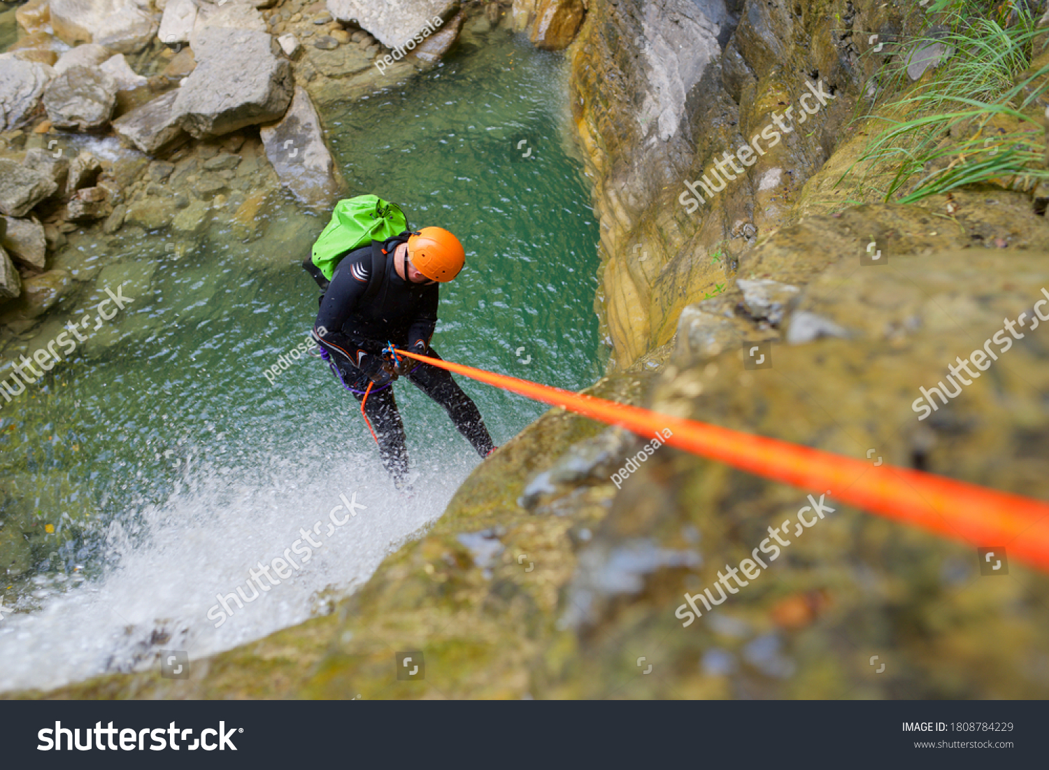 Canyoneering Furco Canyon in Pyrenees, Broto village, Huesca Province in Spain. #1808784229