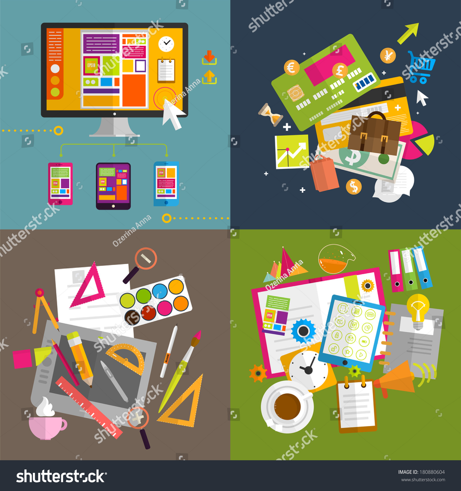Set Icons Flat Design Mobile Phones Stock Vector 180880604