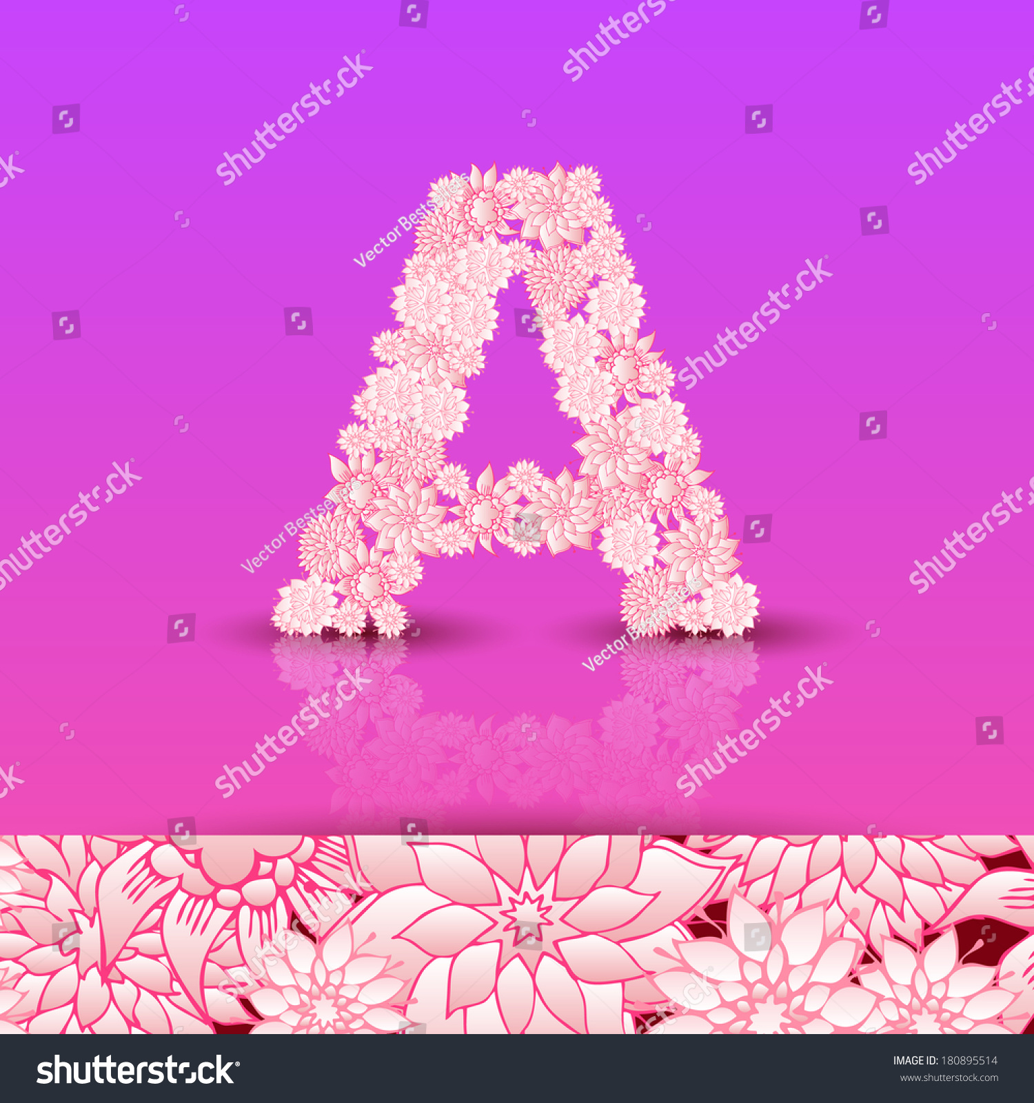 Letter A Bright Floral Element Colorful Stock Vector (Royalty Free ...