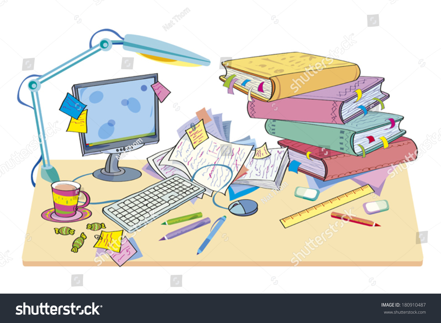 desk computer books disorder on desk stock vector  desk the computer and books disorder on a desk are scattered books