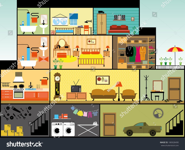 Bedroom Interior Design Set Furniture Vector