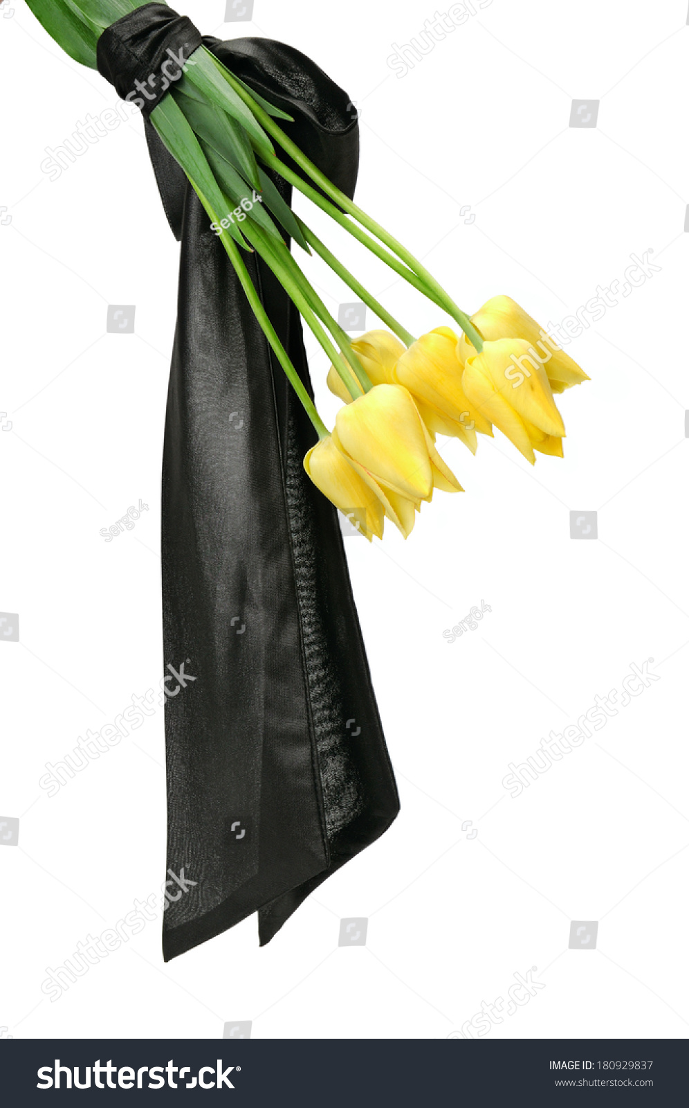 Bouquet Yellow Flowers Funeral Isolated On Stock Photo Safe To Use