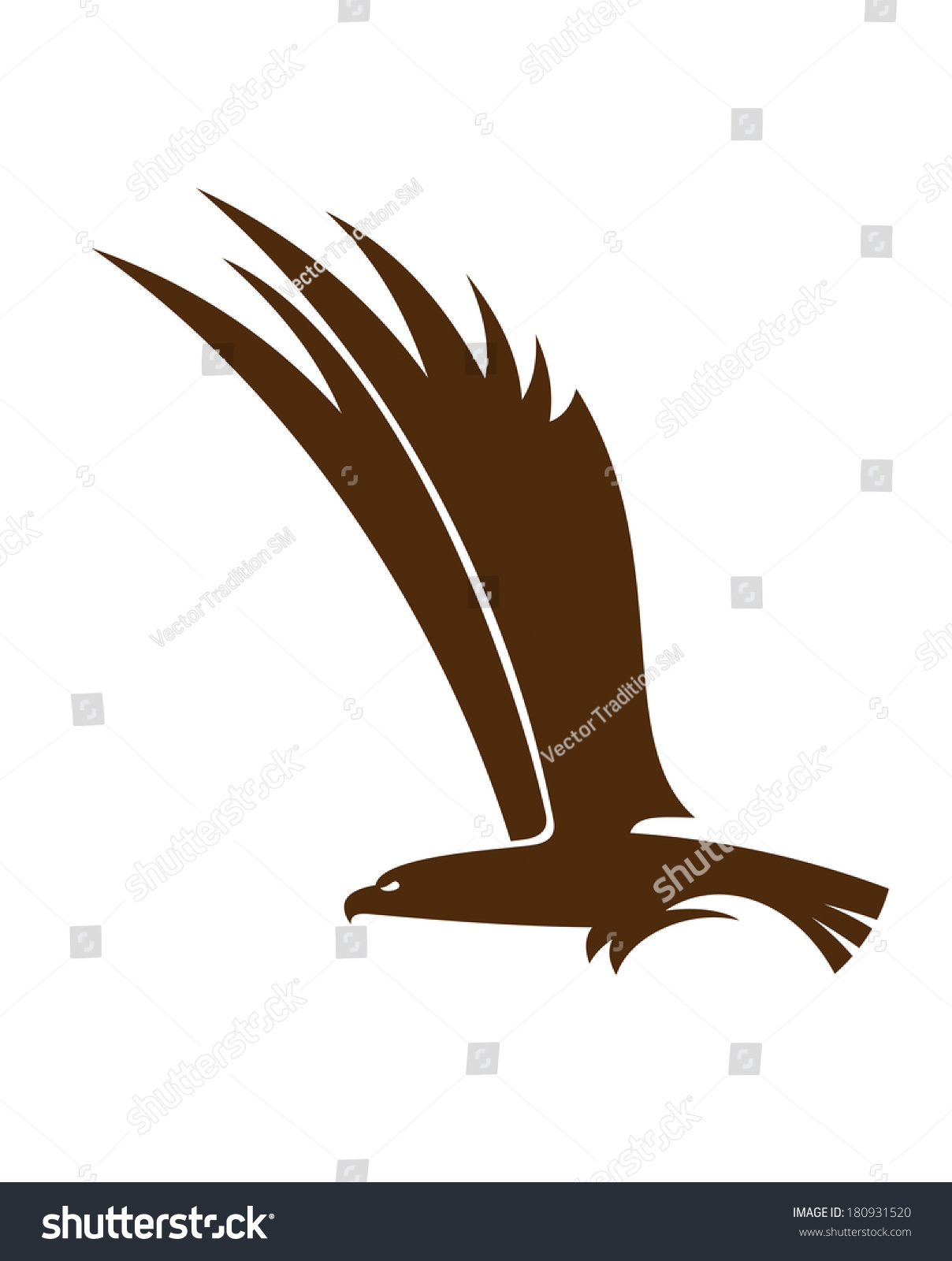 Side View Silhouette Flying Falcon Hawk Stock Vector ...