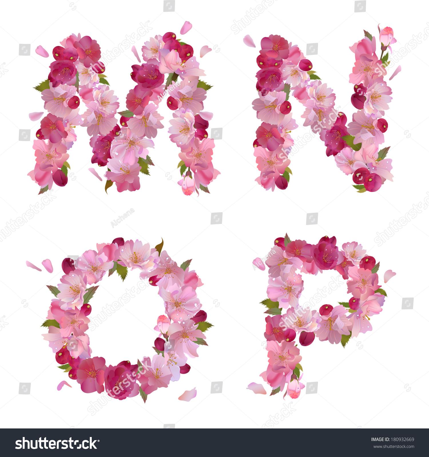 Spring alphabet gentle pink sakura flowers stock illustration spring alphabet with gentle pink sakura flowers letters mnop dhlflorist Images