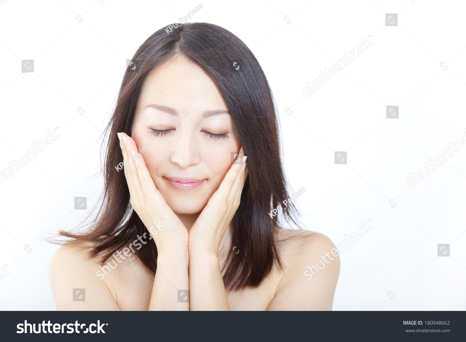 Japanese Woman Placing Her Hands On Stock Photo 180948662