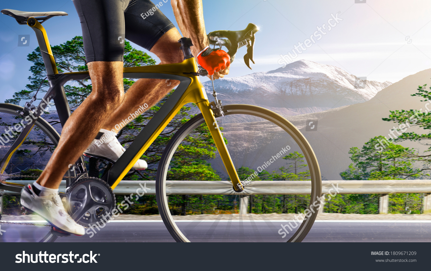 Professional road bicycle racer in action #1809671209