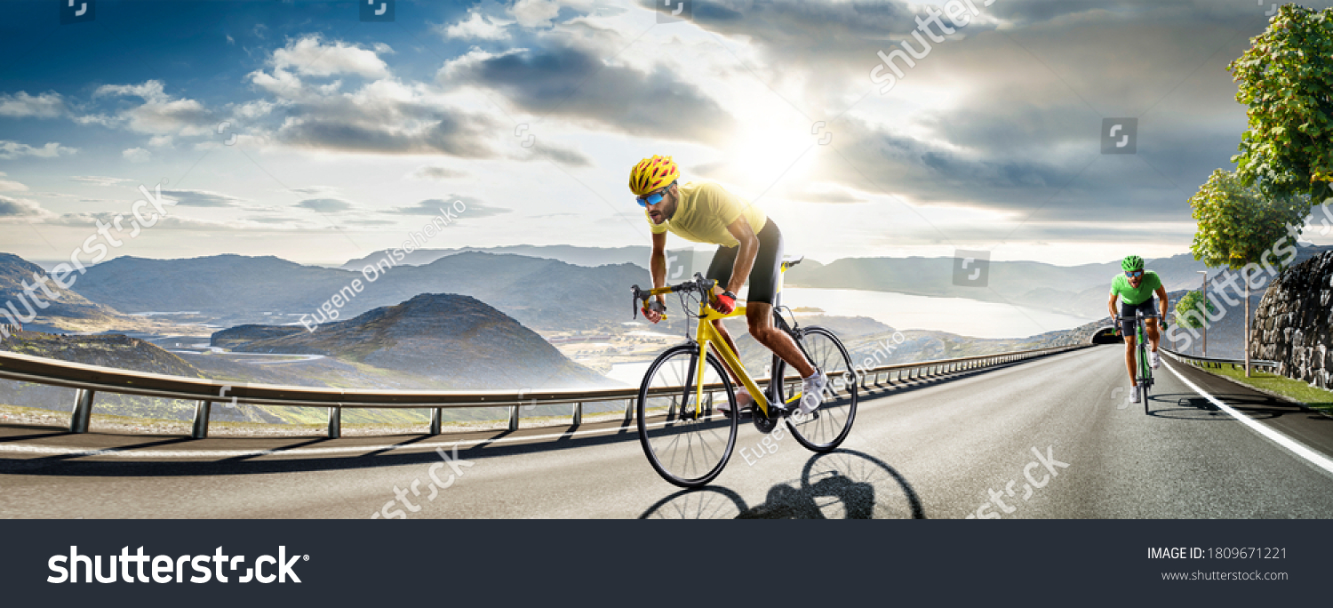 Professional road bicycle racer in action #1809671221