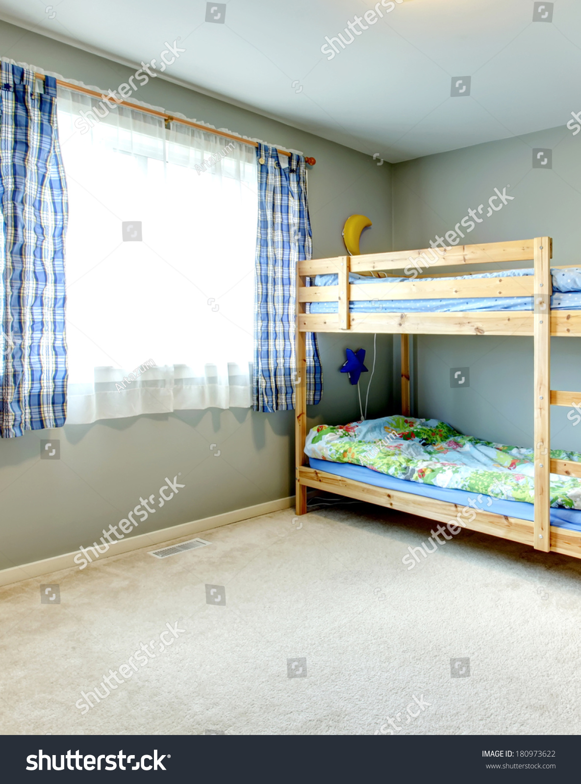 Cozy Bedroom Kids Pleated Curtains Two Stock Photo Edit Now 180973622