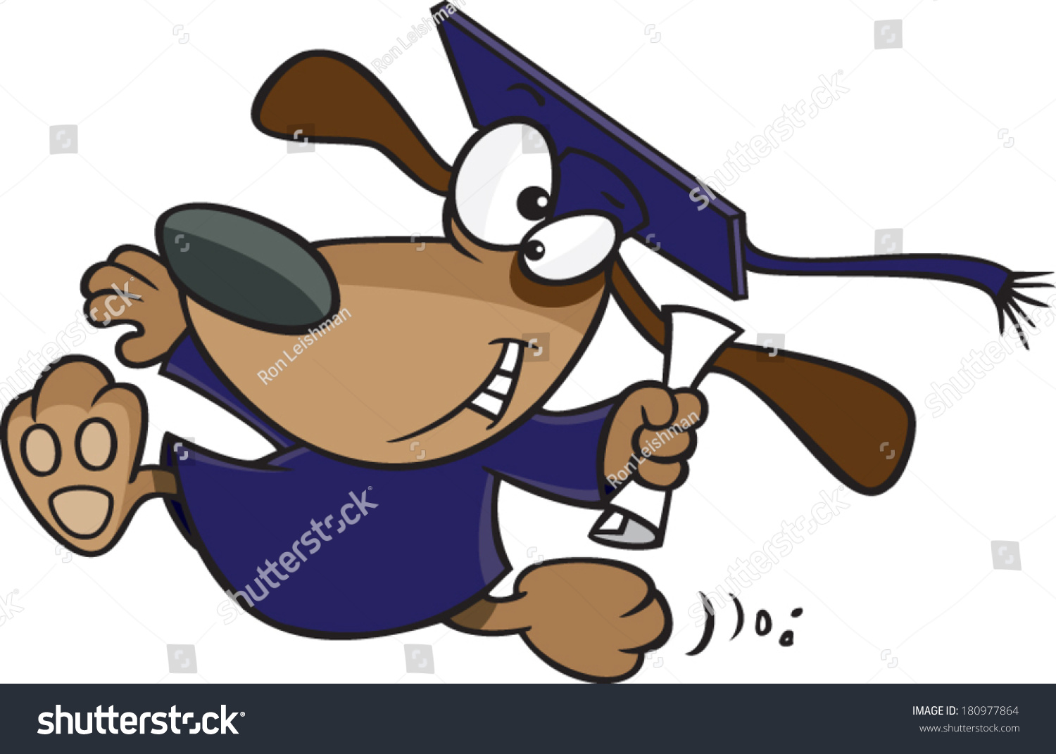 Cartoon Dog Wearing Graduation Cap Gown Stock Vector 180977864 ...