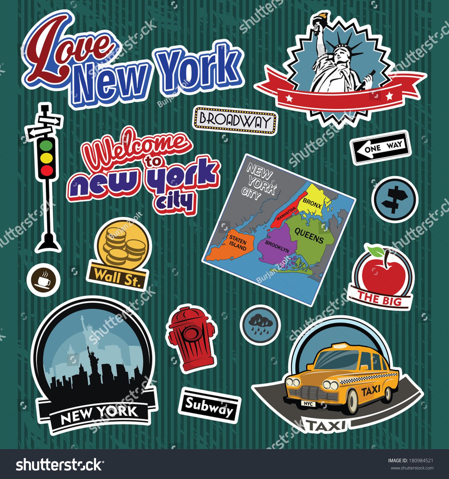 New York City Stickers Symbols Stock Vector Royalty Free 180984521