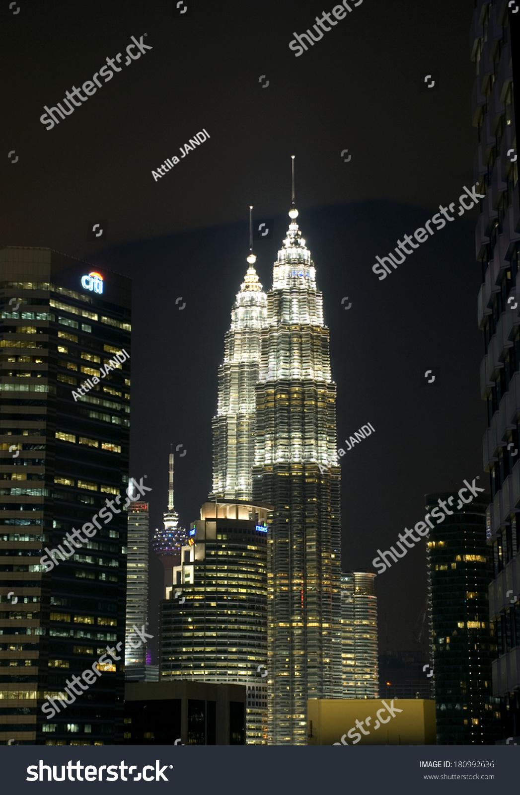 Kuala lumpur malaysia march 7 petronas stock photo 180992636 kuala lumpur malaysia march 7 petronas tower by night at 7 march buycottarizona Gallery