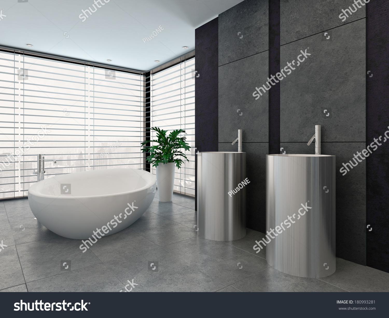 luxury modern black and white bathroom interior - Black Luxury Modern Bathroom
