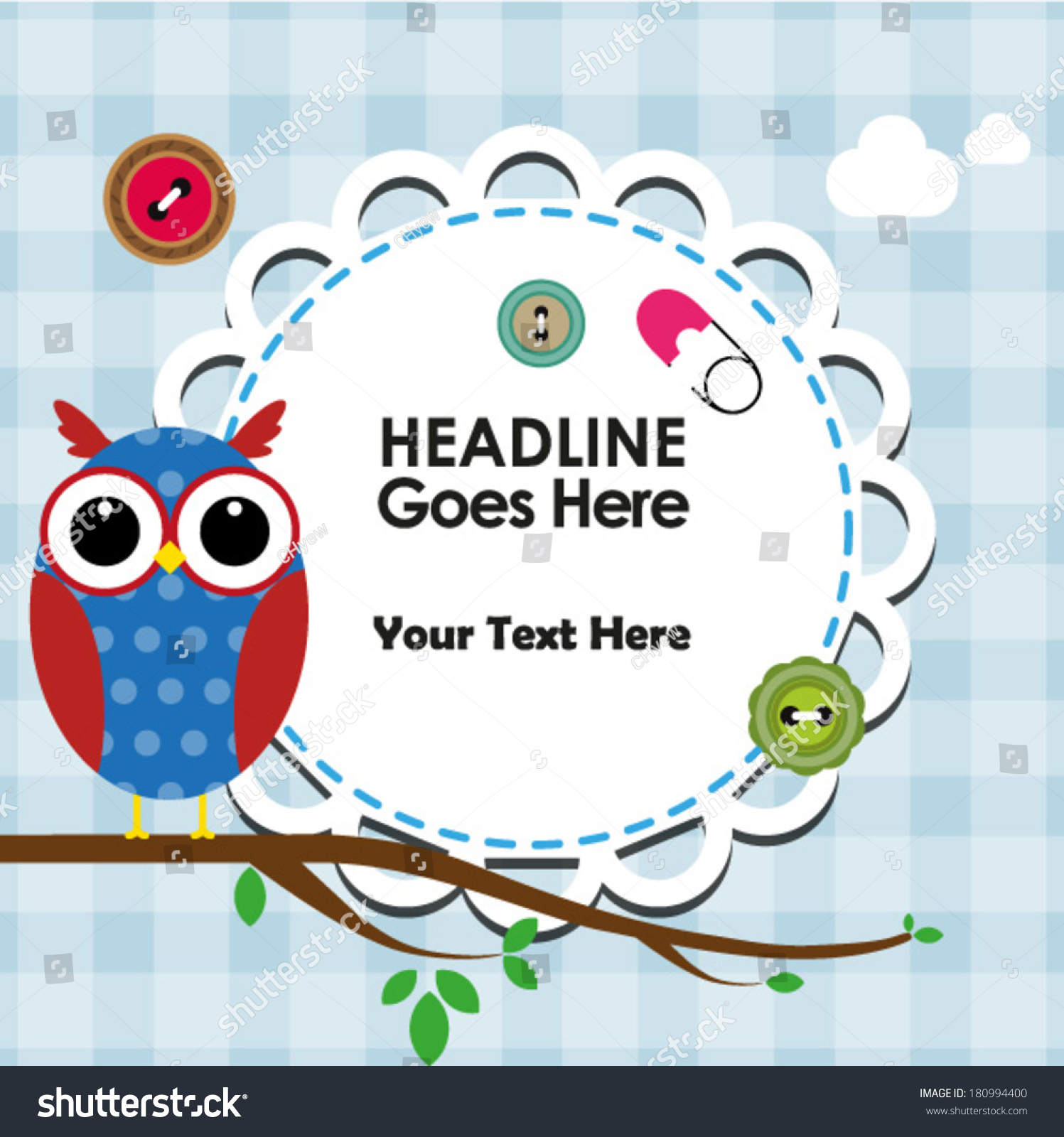 cute owl on branch frame text stock vector   shutterstock - cute owl on branch with frame for text
