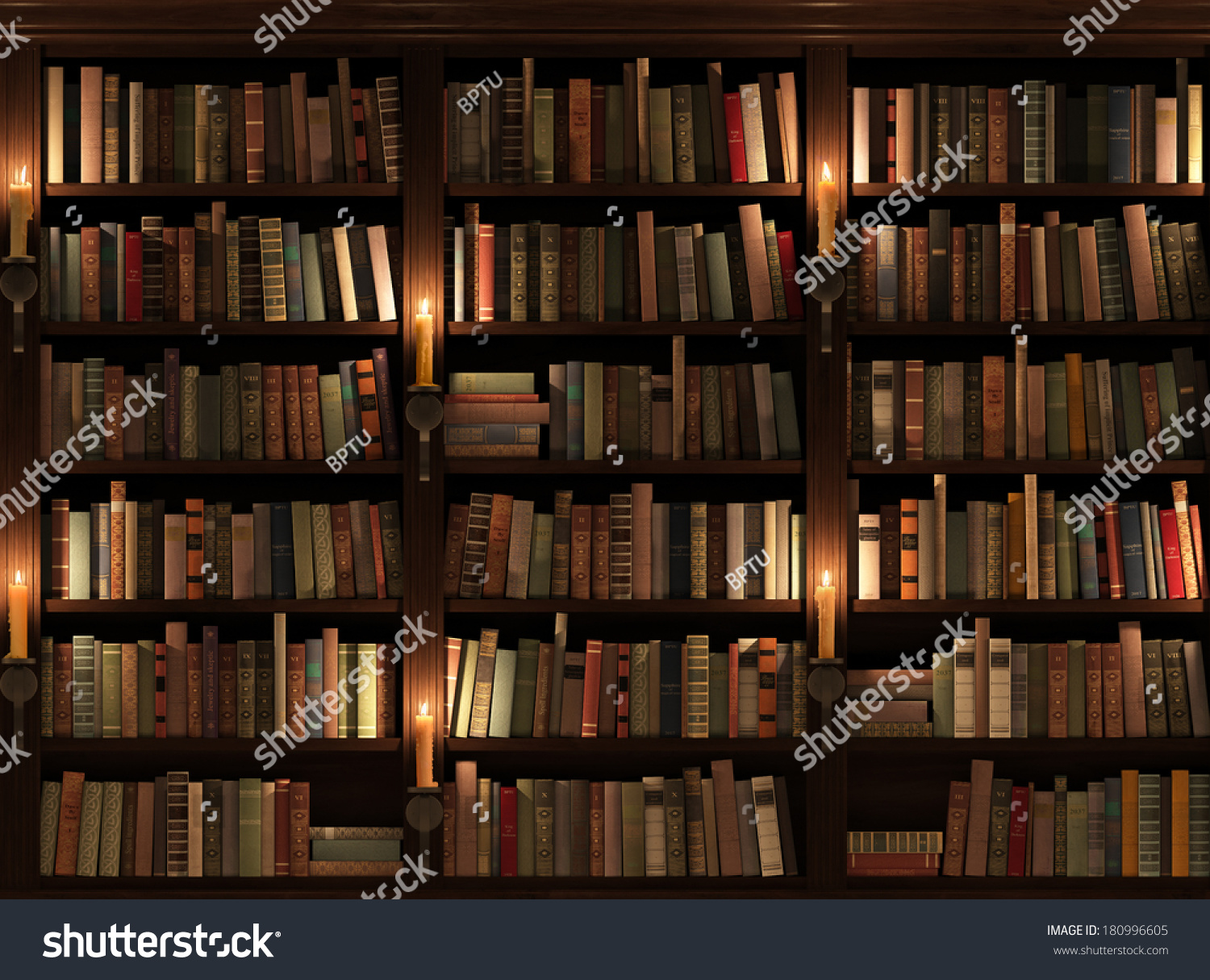 Bookshelf Seamless Texture Background Mysterious Library Stock ...