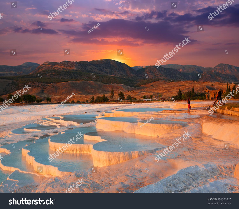 beautiful sunrise natural travertine pools terraces stock photo