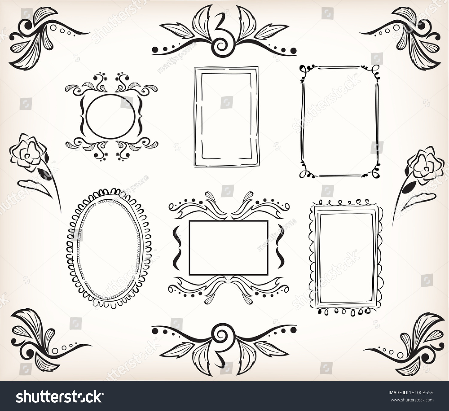 Calligraphic Borders Frames Easily Decorate Your Stock