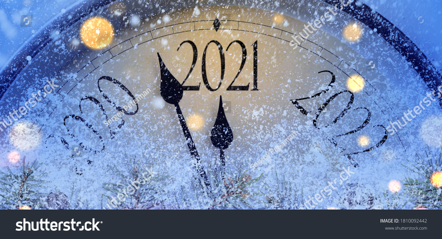 Countdown to midnight. Retro style clock counting last moments before Christmas or New Year 2021. #1810092442
