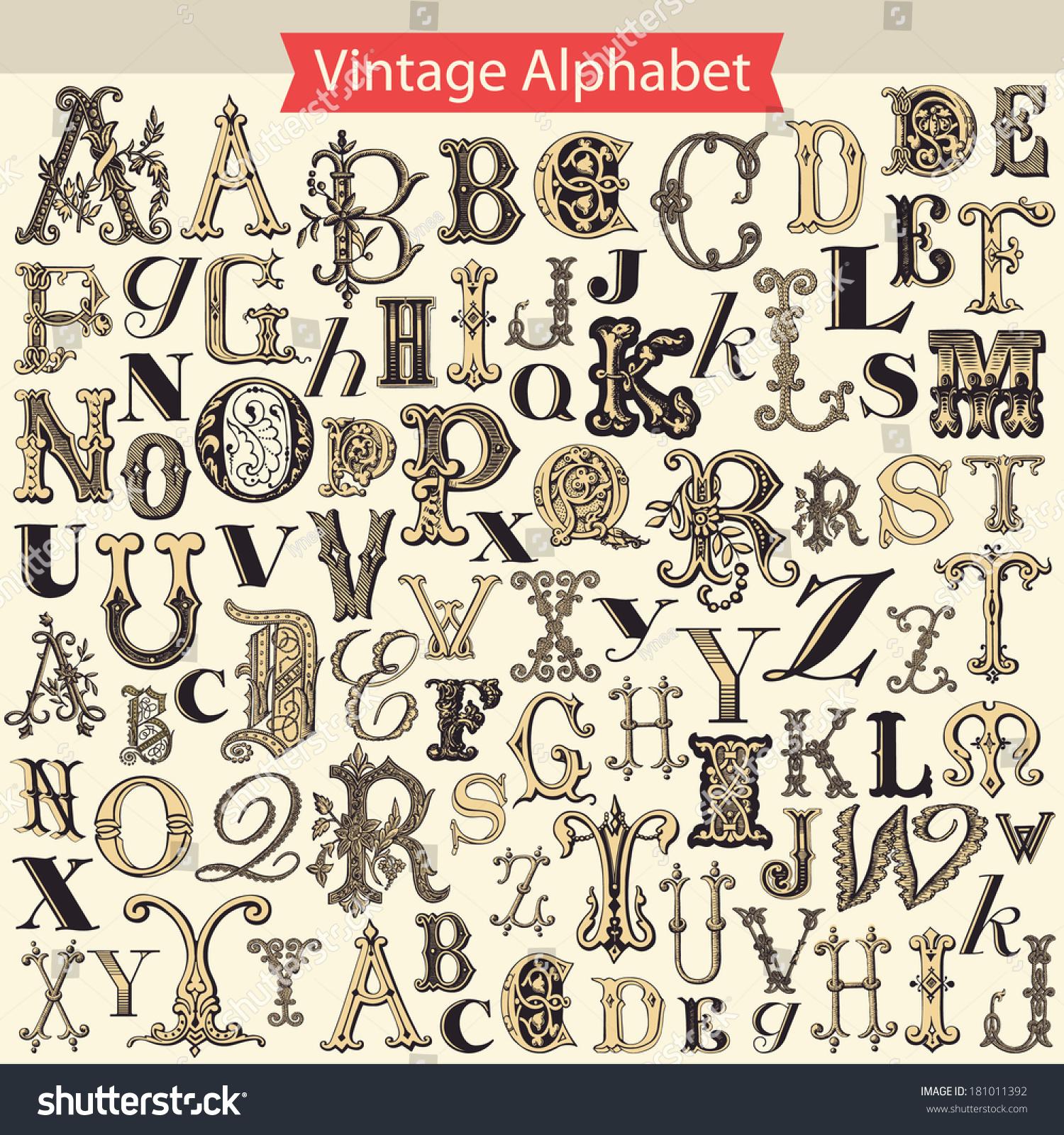 Vintage Alphabet Stock Vector Illustration 181011392