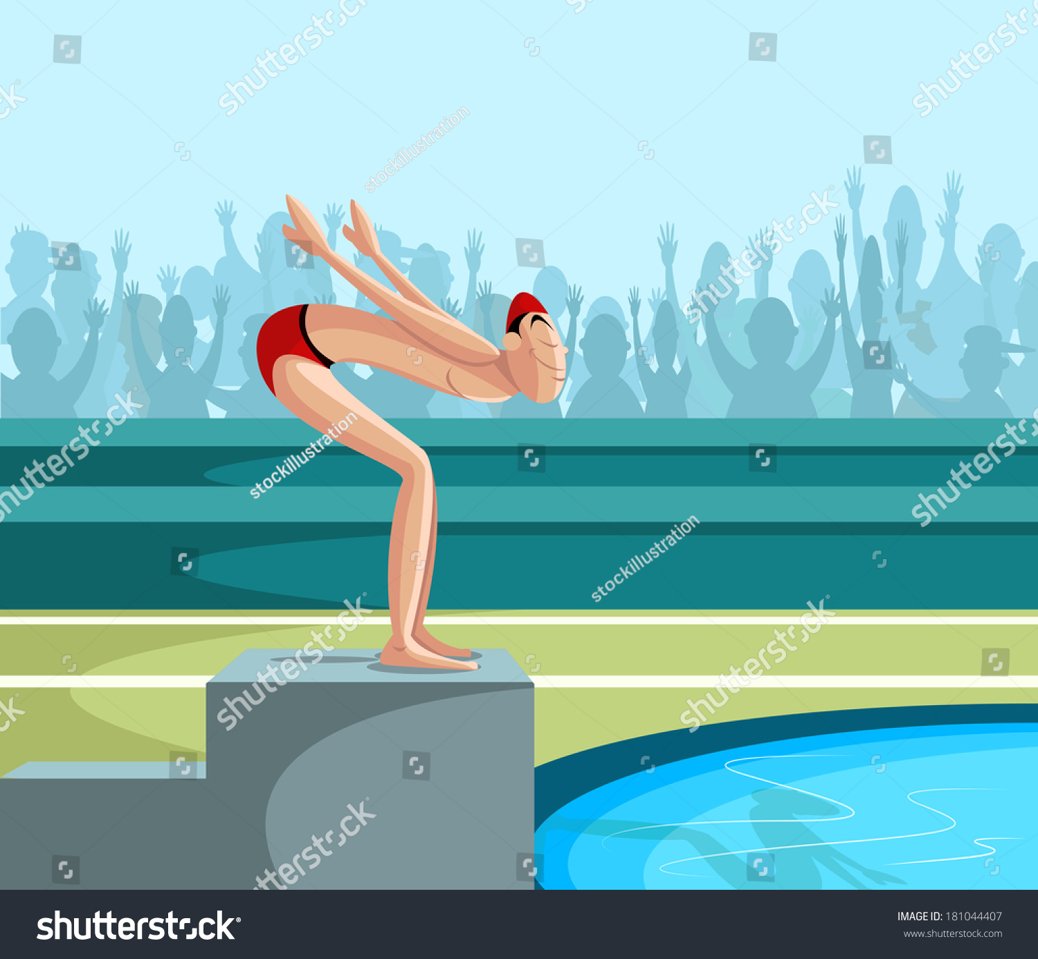 Cartoon Style Swimmer Diving Into Pool Stock Vector