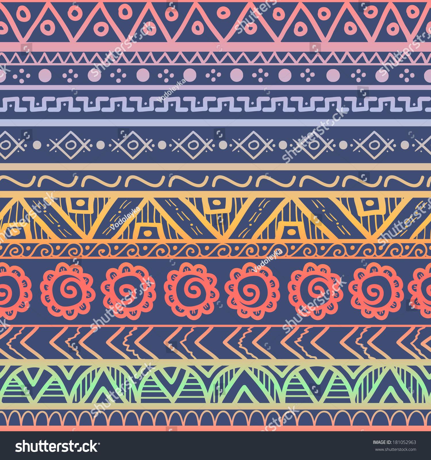 Tribal Striped Seamless Pattern. Hand Drawn Aztec ...