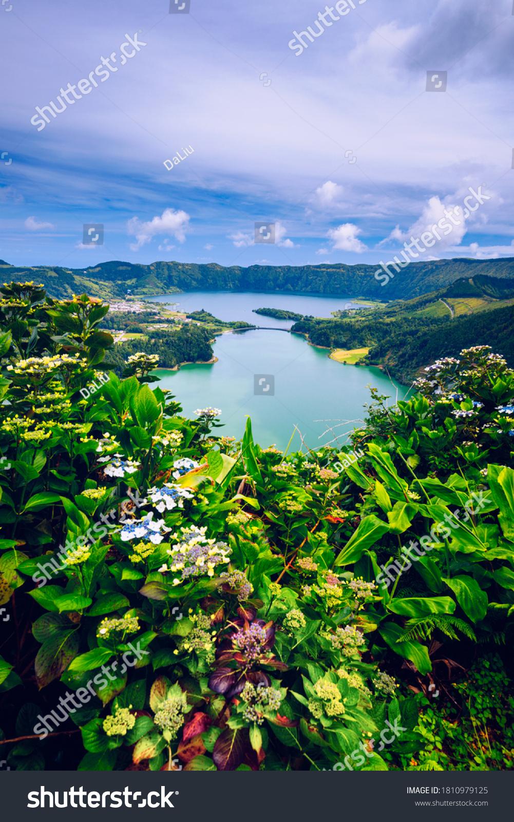 The Astonishing Lagoon Of The Seven Cities (Lagoa Das 7 Cidades), In Sao Miguel Azores, Portugal. Lagoon of the Seven Cities, Sao Miguel island, Azores. Ocean, aerial. Sao Miguel, Azores, Portugal. #1810979125