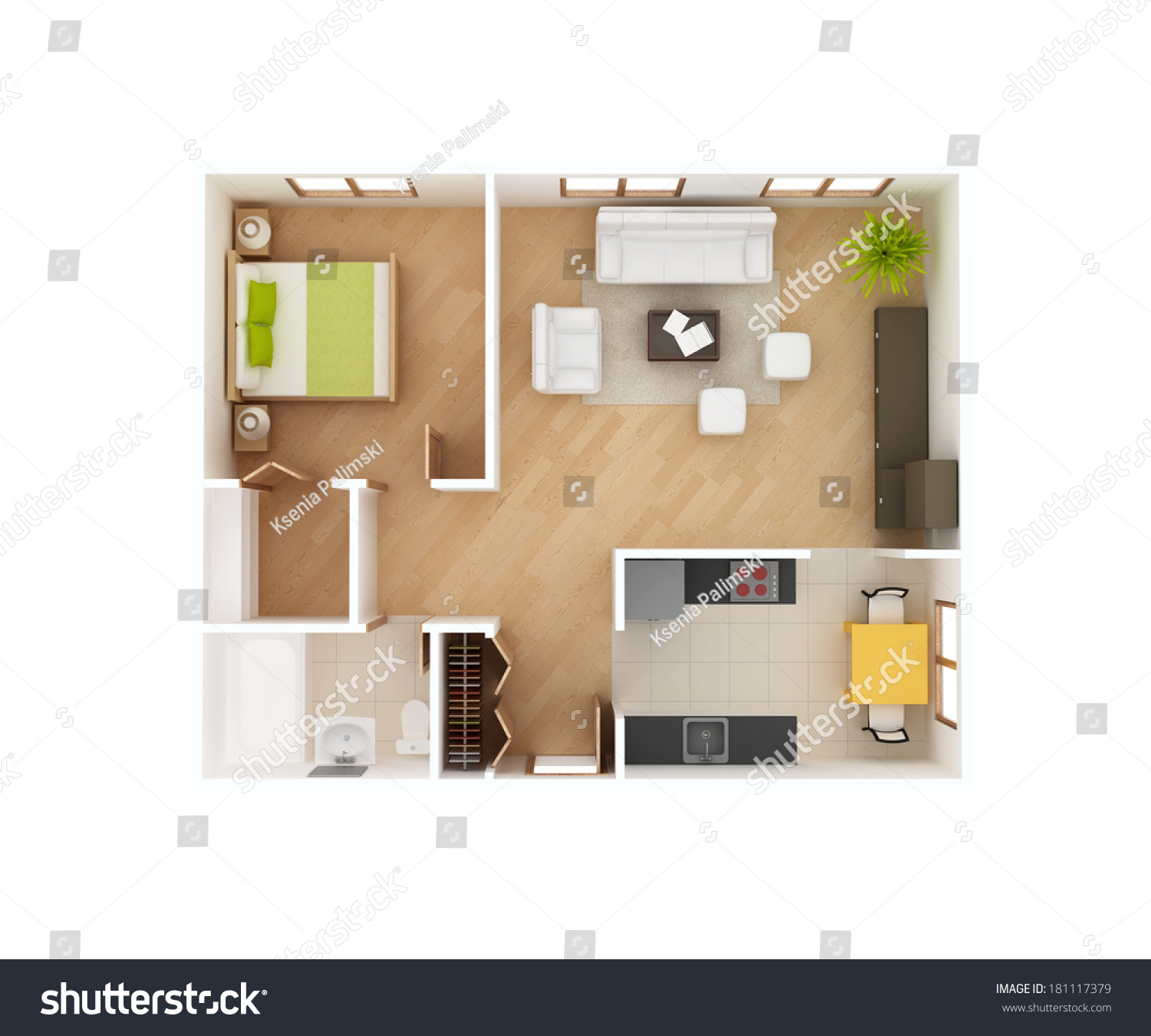 simple 3d floor plan house top stock illustration