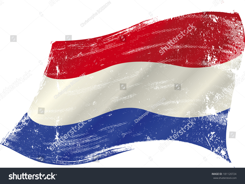 dutch grunge flag grunge flag holland stock vector 181120724