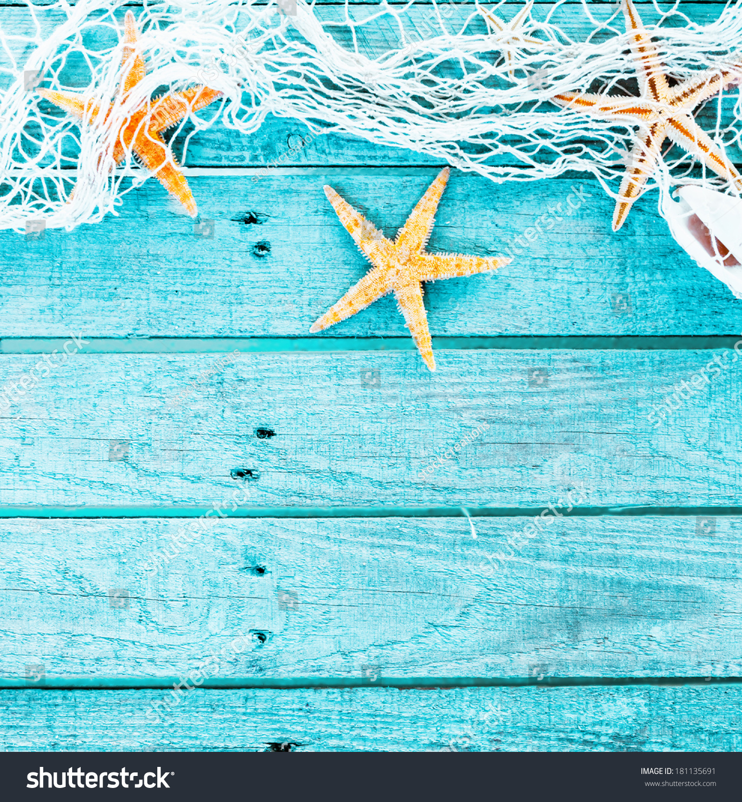 Pretty Turquoise Blue Nautical Background Decorated Stock ...