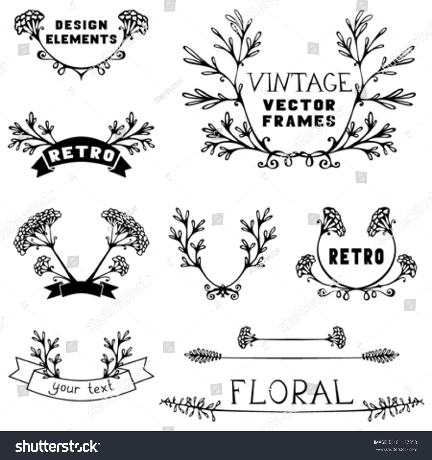 Set Of Black Flower Design Elements Stock Vector: Set Simple Floral Design Elements Handdrawn Stock Vector