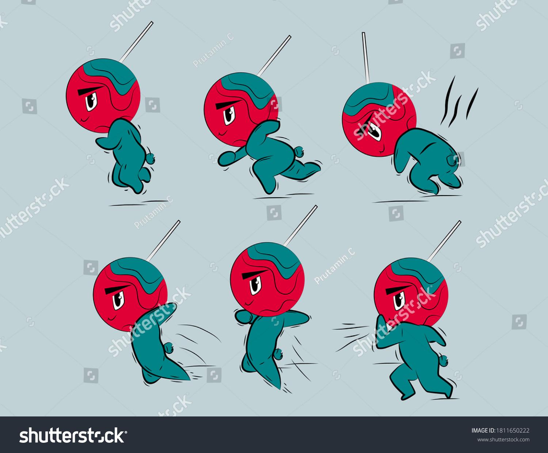 running boys in lollipop costum illustration with japan kawaii  doodle concept