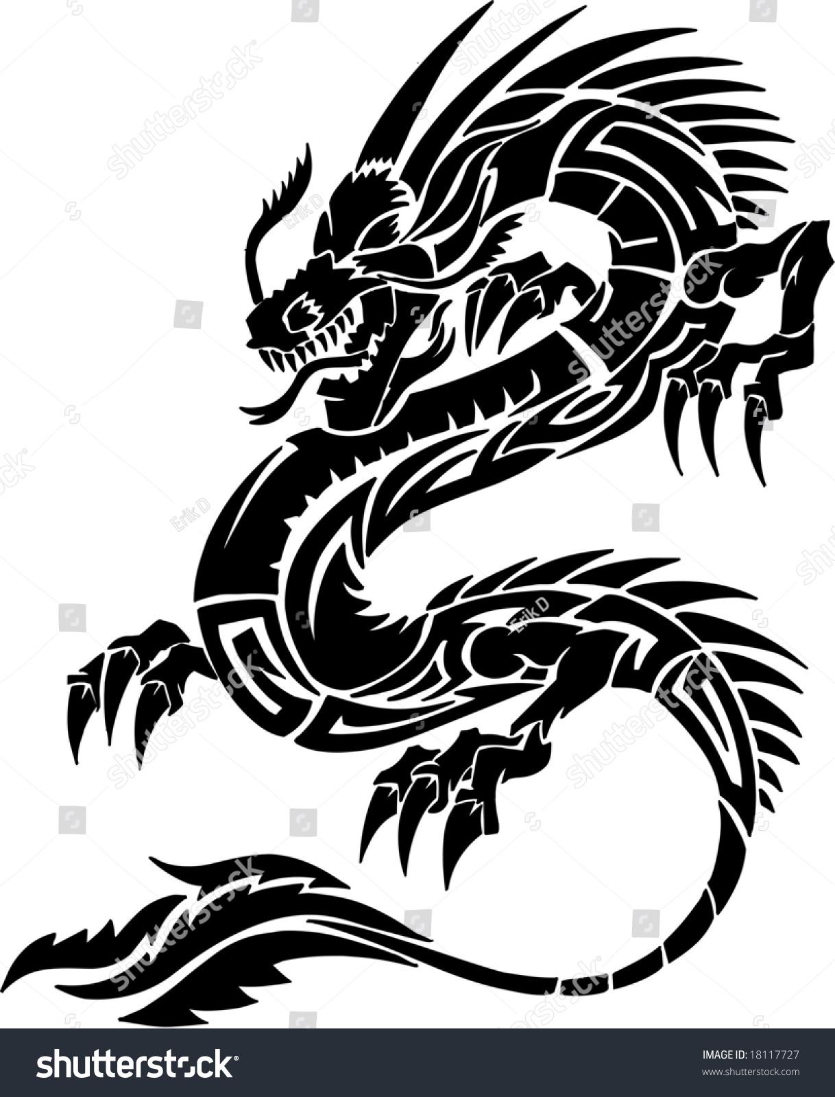 Tribal Tattoo Dragon Vector Illustration Stock Vector