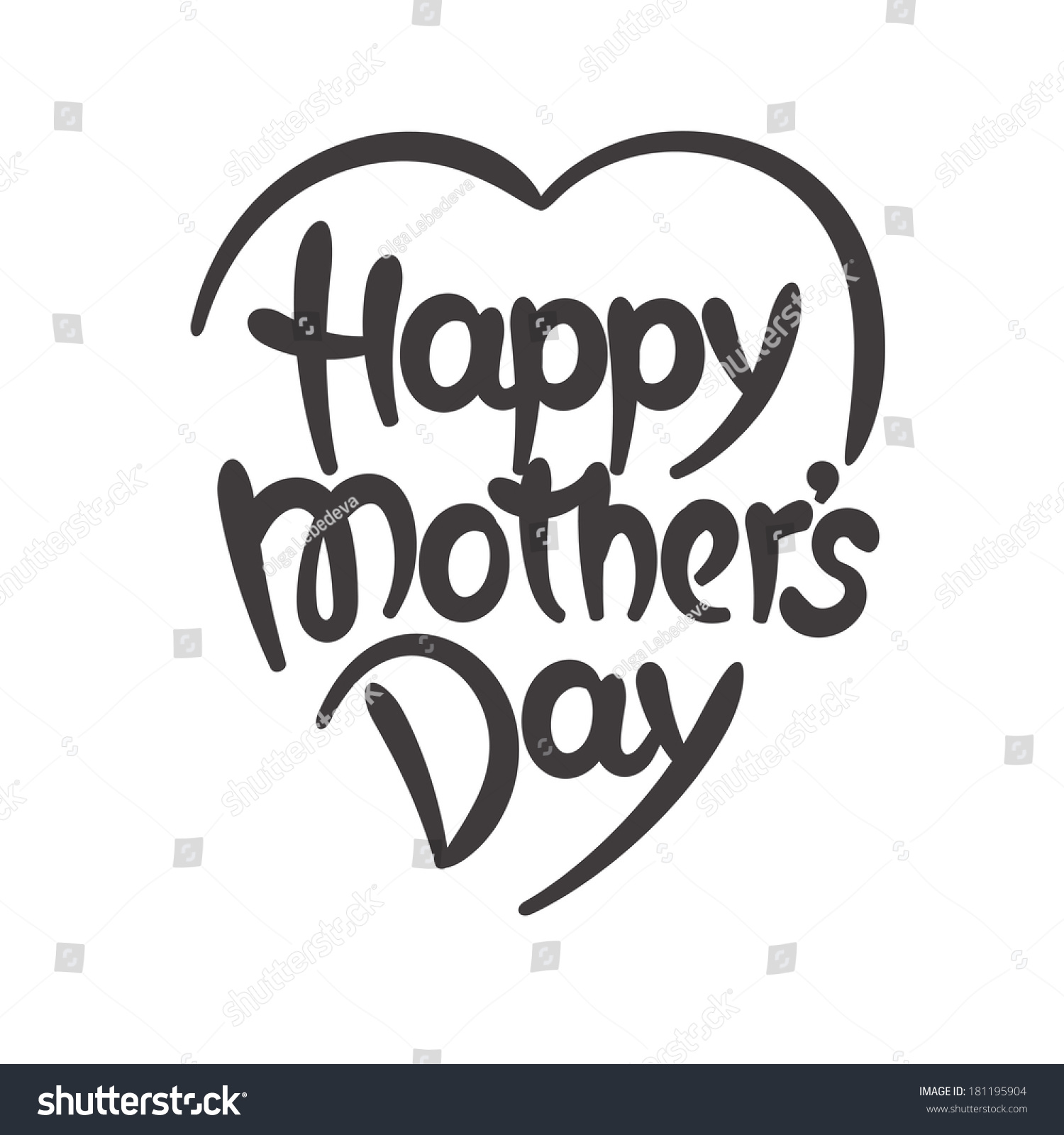 Happy Mothers Day Handdrawn Lettering Stock Vector