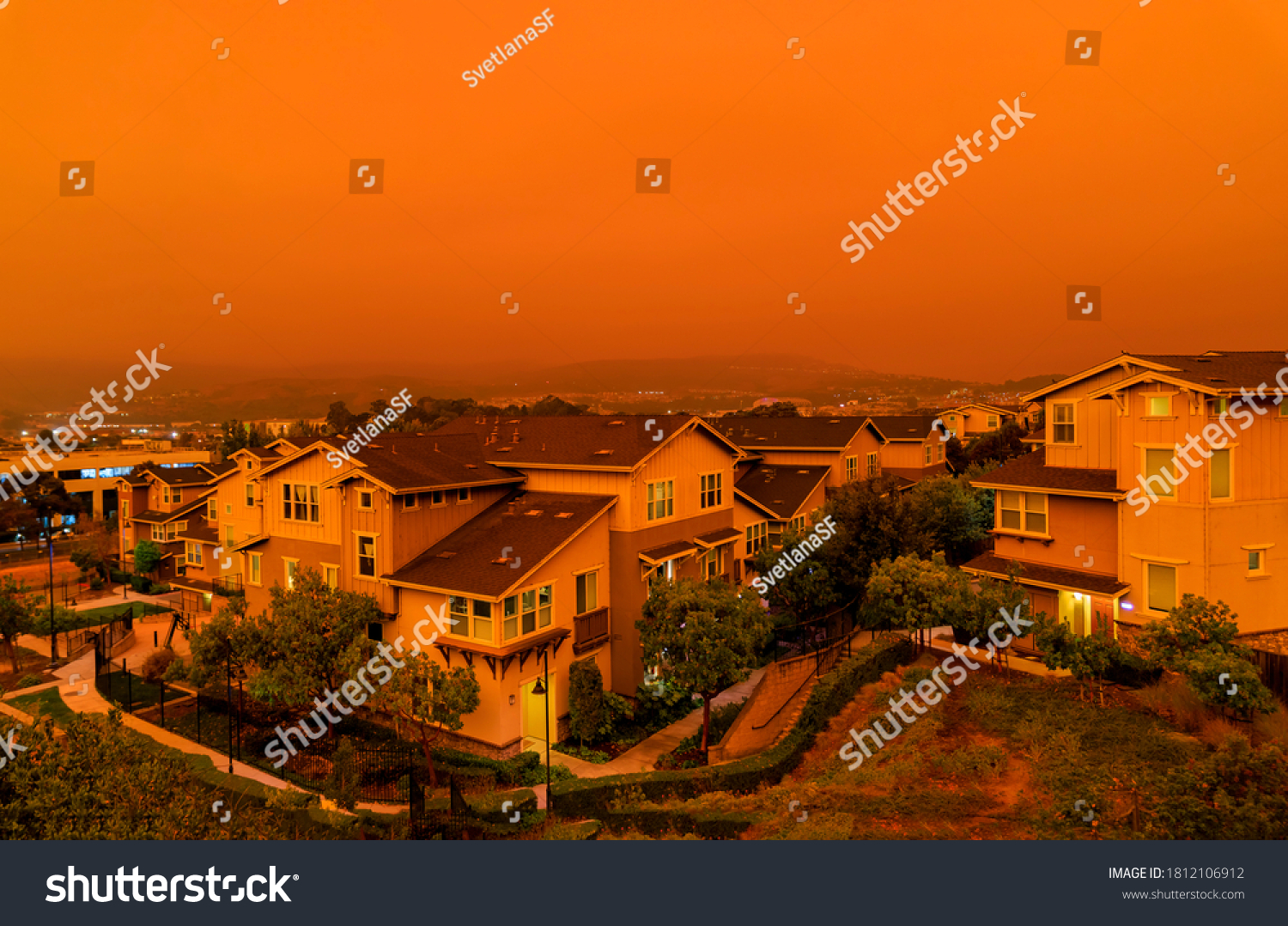 Thick orange haze above San Francisco on September 9 2020 from record wildfires in California, daytime view of ash and smoke floating over the Bay Area #1812106912